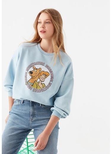 Mavi Scooby Doo Baskılı Mavi Sweatshirt Mavi